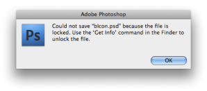 Photoshop error dialog